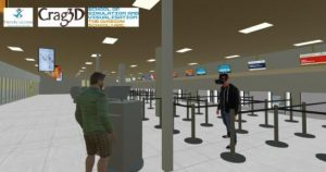 VR image of Aberdeen Airport Check in desk area