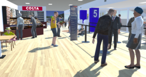 VR picture of boarding area Aberdeen airport
